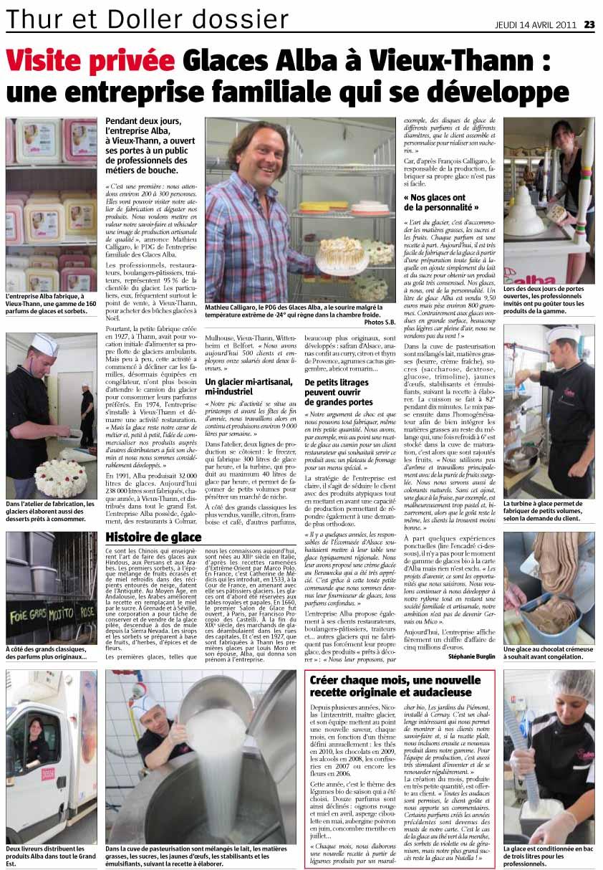 article presse Visite privée Glaces Alba à Vieux-Thann : une entreprise familiale qui se développe